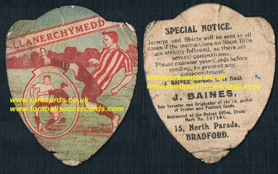 1910 Llanerch-y-medd F.C. Anglesey Wales football card by Baines